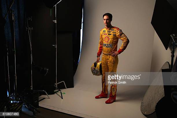 Sprint Cup Series driver Joey Logano poses for a portrait during NASCAR Media Day at Daytona International Speedway on February 16 2016 in Daytona...