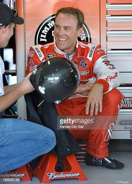 Sprint Cup Series driver Kevin Harvick in the garage during a practice session on Thursday October 3 at the Kansas Speedway in Kansas City Kansas