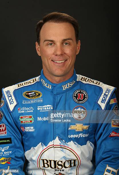 Sprint Cup Series driver Kevin Harvick poses for a portrait during day 3 of the 2016 Charlotte Motor Speedway Media Tour at NASCAR Hall of Fame on...
