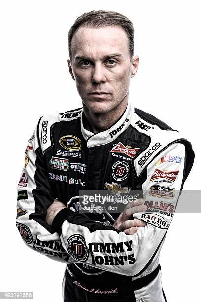 NASCAR Sprint Cup Series driver Kevin Harvick poses for a portrait during the 2015 NASCAR Media Day at Daytona International Speedway on February 12...