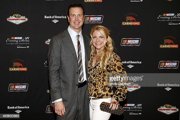 Sprint Cup Series driver Kurt Busch and wife Eva Busch pose for a picture at the NASCAR Evening Series Presented by Bank of America at Carnevino at...