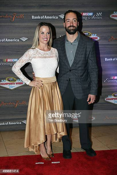 Sprint Cup Series driver Paul Menard and wife Jennifer attend the NASCAR Evening Series presented by Bank of America at Border Grill inside Caesars...