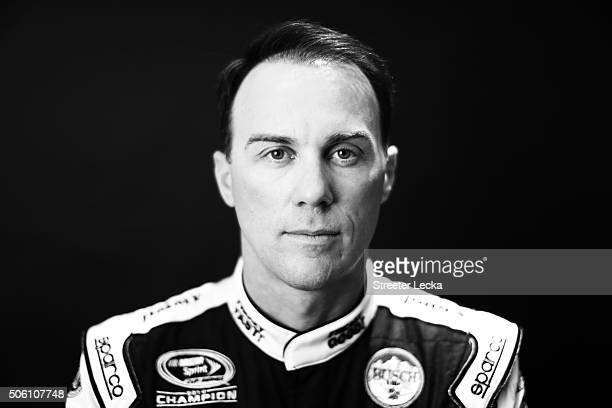 Sprint Cup Series driver poses for a portrait during day 3 of the 2016 Charlotte Motor Speedway Media Tour at NASCAR Hall of Fame on January 21 2016...