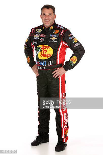 Sprint Cup Series driver Tony Stewart poses for a portrait during the 2015 NASCAR Media Day at Daytona International Speedway on February 12 2015 in...