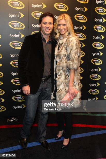 Sprint Nextel driver Jimmie Johnson and wife Chandra Johnson attend the 2008 NASCAR Sprint Cup Series Champion's party at Marquee on December 4 2008...