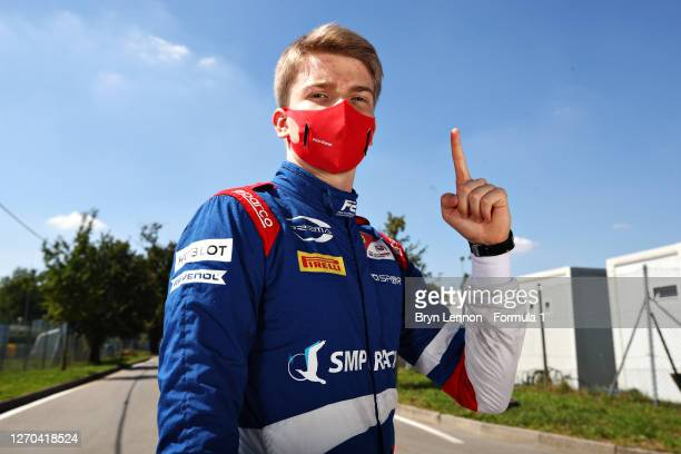 Sprint race winner in Belgium, Robert Shwartzman of Russia and Prema Racing poses for a photo during previews ahead of the Formula 2 Championship at...