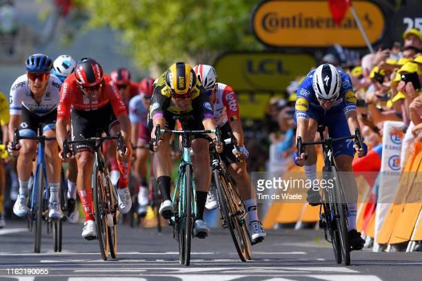 Sprint / Wout Van Aert of Belgium and Team JumboVisma / Elia Viviani of Italy and Team Deceuninck QuickStep / Michael Matthews of Australia and Team...