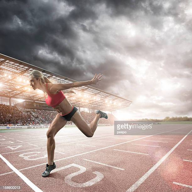 sprinter about to cross finish line - finish line stock pictures, royalty-free photos & images