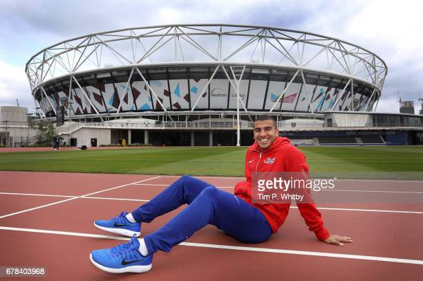 Sprinter Adam Gemili of Great Britain poses ahead of the IAAF World Championships London 2017 during a photo shoot at The London Stadium on May 4...