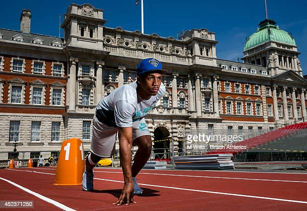 Sprinter Chijindu Ujah of Great Britain poses during a photocall to promote the Sainsbury's Anniversary Games at Horse Guards Parade on July 18 2014...