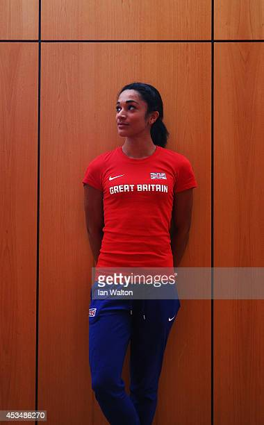 Sprinter Jodie Williams poses during a Great Britain and Northern Ireland team press conference ahead of the 22nd European Athletics Championships at...