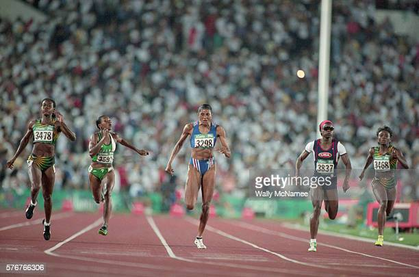 Sprinter MarieJose Perec representing France wins the gold medal for the 400meter run at the 1996 Atlanta Olympic Games