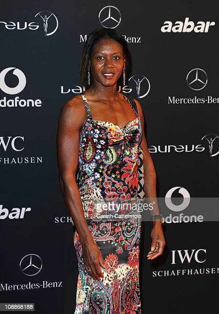 Sprinter Merlene Ottey arrives for the Laureus Welcome Party as part of the 2011 Laureus World Sports Awards at Cipriani Yas Island on February 6...