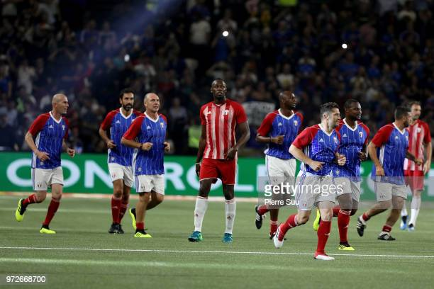 Sprinter Usain Bolt plays during France 98 v FIFA 98 football match at U Arena on June 12 2018 in Nanterre France