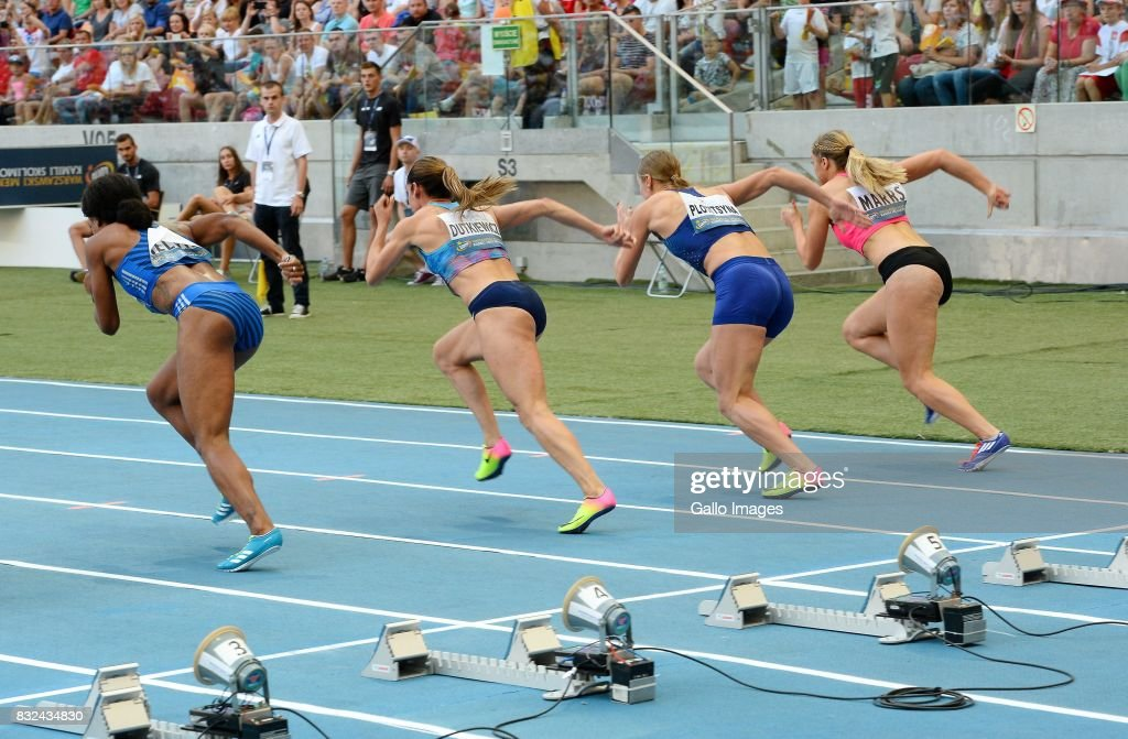 Sprinters during the European Athletics Meeting Kamila Skolimowska Memorial at the National Stadium on August 15, 2017 in Warsaw, Poland. It is the 8th edition of the Warsaw Memorial organized since 2009.