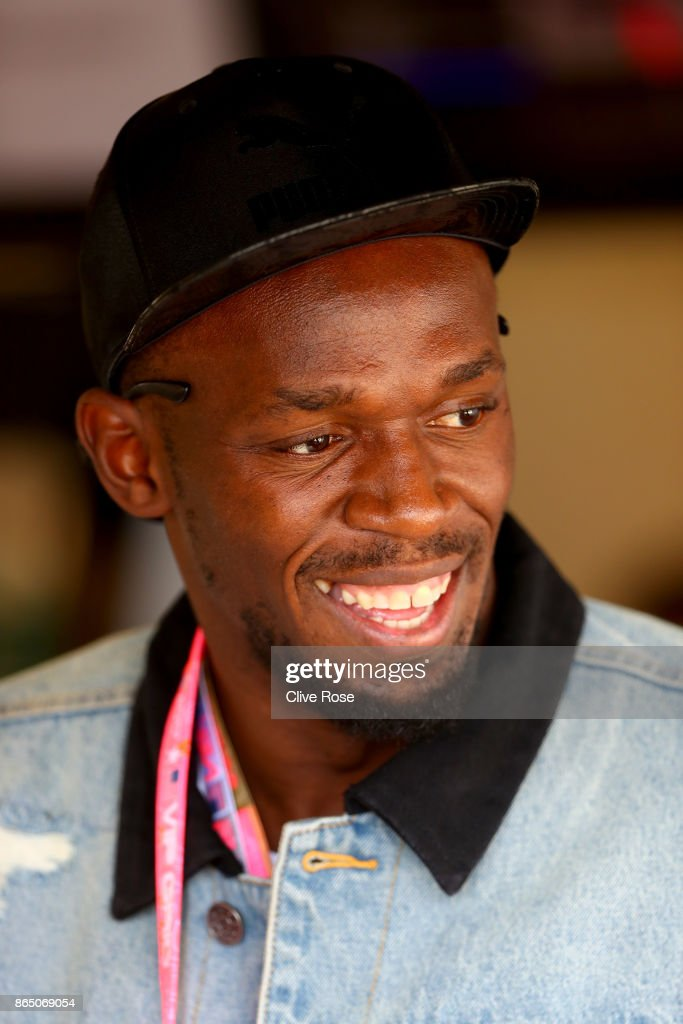 Sprinting legend Usain Bolt in the Mercedes F1 garage before the United States Formula One Grand Prix at Circuit of The Americas on October 22, 2017 in Austin, Texas.