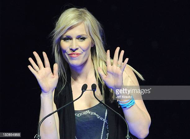 Sprite Refreshing Films Celebrity Natasha Bedingfield speaks onstage at the CinemaCon awards ceremony held at The Colosseum at Caesars Palace during...