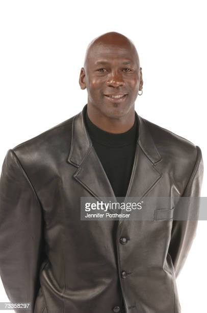 Sprite Slam Dunk Competition judge Michael Jordan poses for a portrait at NBA All Star Saturday Night as part of NBA AllStar Weekend on February 17...