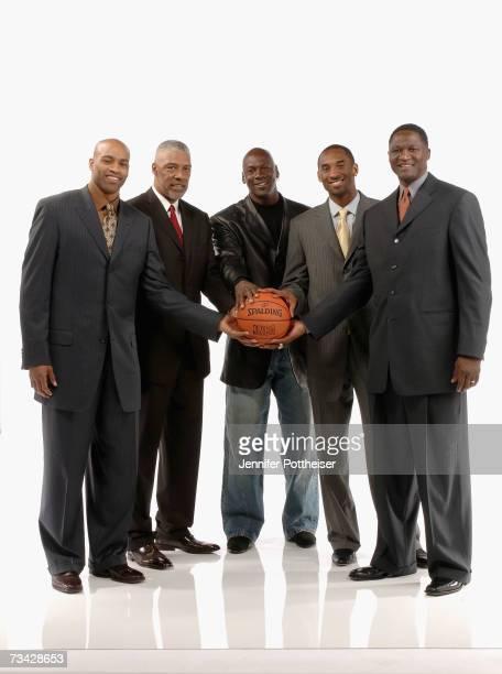 Sprite Slam Dunk Competition judges Vince Carter Julius Erving Michael Jordan Kobe Bryant and Dominique Wilkins pose for a portrait on NBA All Star...