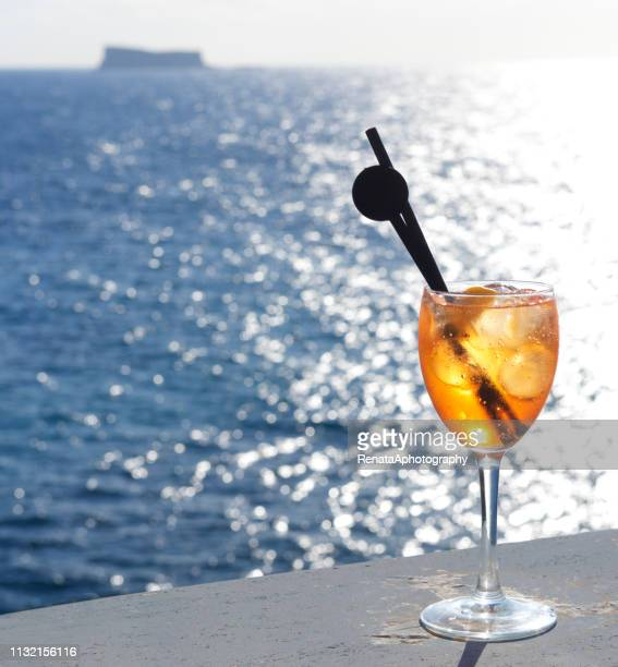 Aperol spritz drink by the sea, Malta
