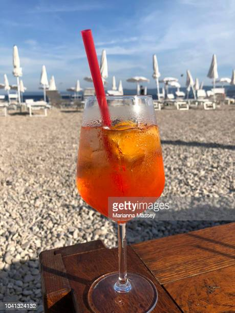 Aperol Spritz Drink Served on the beach
