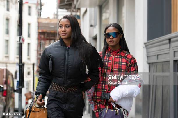 S/Producer Angel Coleman and Dren Coleman wears Nicopanda tracksuit during London Fashion Week September 2018 on September 14, 2018 in London,...