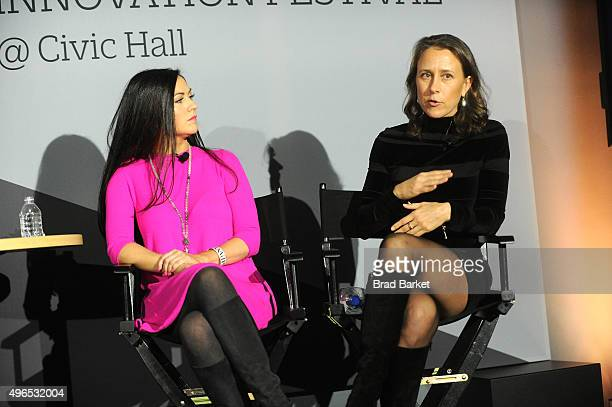 Sprout Pharmaceuticals CEO Cindy Whitehead and 23andMe CEO Anne Wojcicki speak onstage during 'The Fast Company Innovation Festival' Data Drugs The...