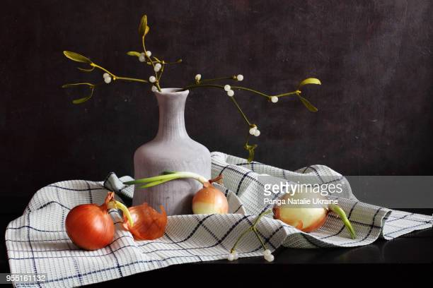 sprouted onions, mistletoe berries and white ceramics - what color are the berries of the mistletoe plant stock pictures, royalty-free photos & images