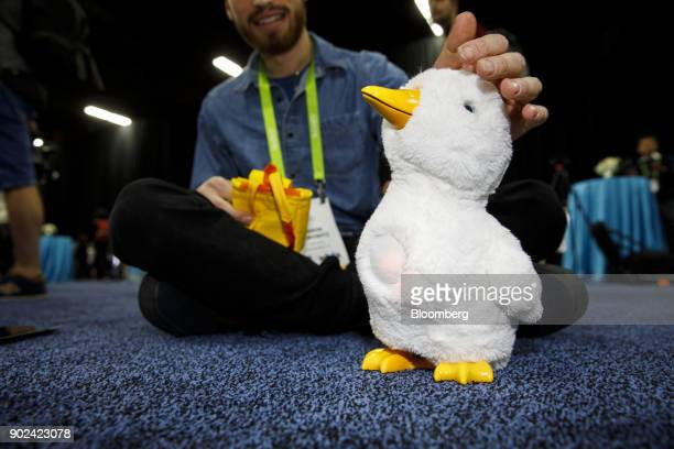 A Sproutel Inc My Special Aflac Duck companion robot is displayed during the CES Unveiled event at the 2018 Consumer Electronics Show in Las Vegas...