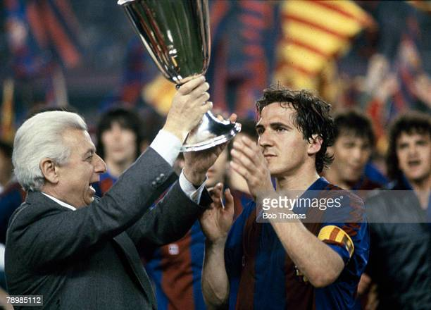 12th May 1982 European Cup Winners Cup Final Barcelona 2 v Standard Liege 1 Barcelona captain Jose Vicente Sanchez receives the trophy from UEFA...