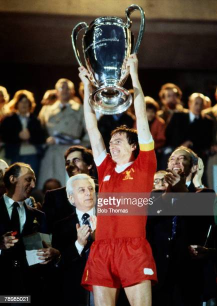 27th May 1981 European Cup Final Liverpool 1 v Real Madrid 0 Liverpool captain Phil Thompson celebrates with the trophy