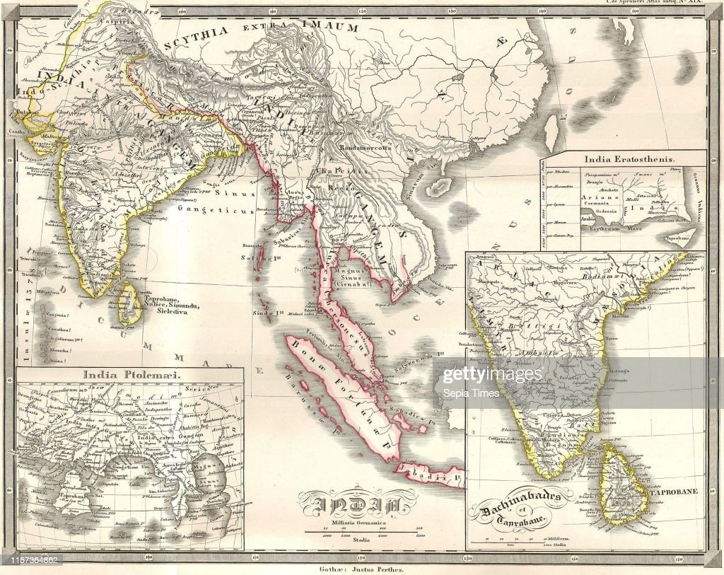 1855, Spruneri Map of India and Southeast Asia in Ancient ...