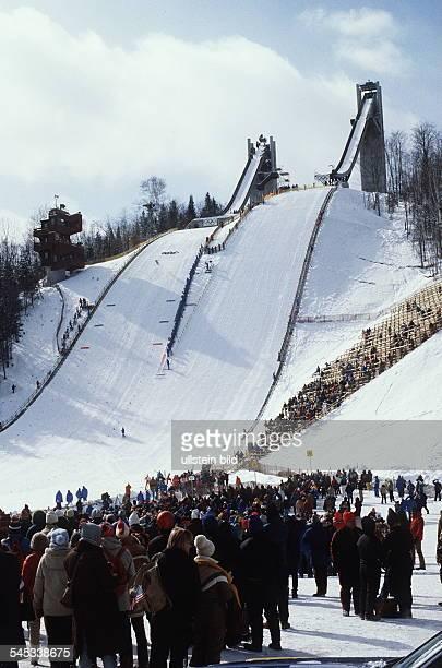 Sprunganlage mit der Normalschanze undder Grossschanze in Invernale Februar 1980