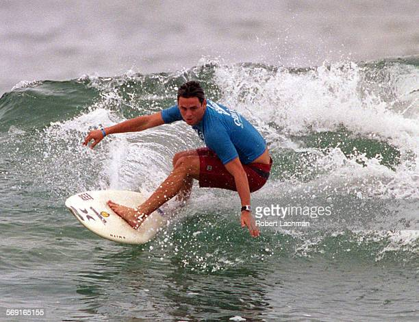 SPSurfDanRDL–– Dan Malloy rides a was during his heat at the G–Shock US Open next to the Huntington Beach Pier in Huntington Beach TIMES