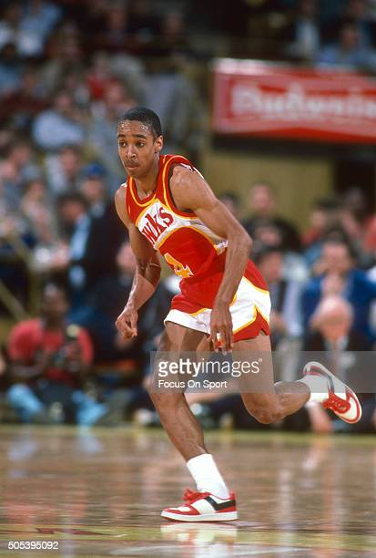 Spud Webb of the Atlanta Hawks runs up court during an NBA basketball game circa 1986 Webb played for the Hawks from 198591