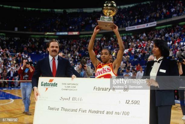 Spud Webb of the Atlanta Hawks wins the1986 Gatorade Slam Dunk Championship during the 1986 NBA AllStar Weekend on February 8 1986 in Dallas Texas...
