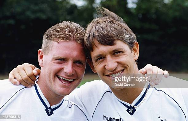 Spurs and England team mates Paul Gascoigne and Gary Lineker share a joke at a Tottenham Hotspur pre season photocall prior to the 1990/91 season in...