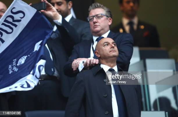 Spurs chairman Daniel Levy looks on prior to the UEFA Champions League Semi Final first leg match between Tottenham Hotspur and Ajax at at the...