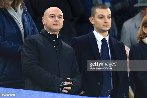 Spurs Chairman Daniel Levy watches on with his son Joshua during the Barclays Premier League match between Everton and Tottenham Hotspur at Goodison...
