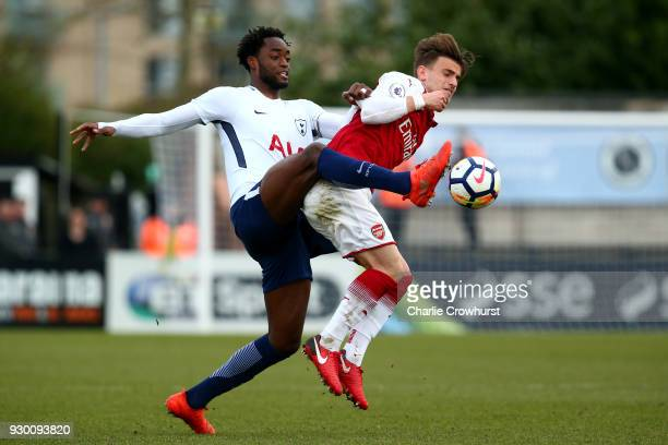 Spurs Christian Maghoma battles for the ball with Arsenal's Vlad Dragomir during the Premier League 2 match between Arsenal and Tottenham Hotspur at...