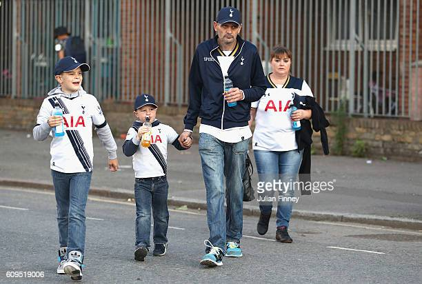 Spurs fans arrive prior to the EFL Cup Third Round match between Tottenham Hotspur and Gillingham at White Hart Lane on September 21 2016 in London...