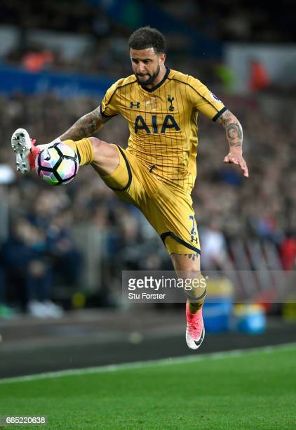Spurs full back Kyle Walker in action during the Premier League match between Swansea City and Tottenham Hotspur at Liberty Stadium on April 5 2017...