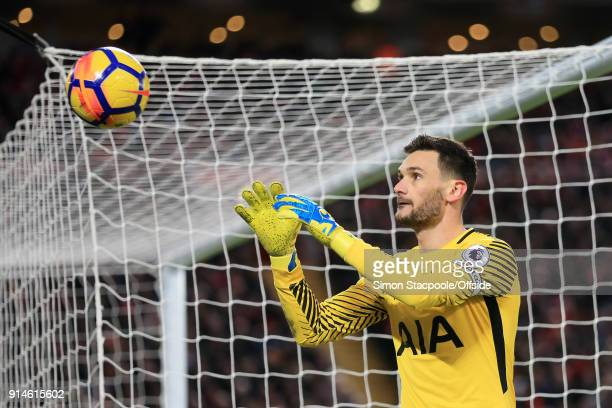 Spurs goalkeeper Hugo Lloris catches the ball during the Premier League match between Liverpool and Tottenham Hotspur at Anfield on February 4 2018...