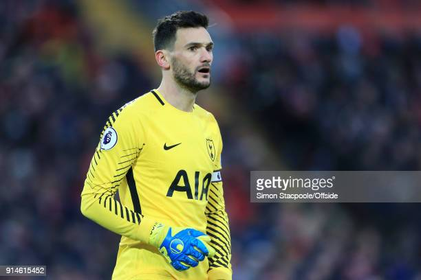Spurs goalkeeper Hugo Lloris looks on during the Premier League match between Liverpool and Tottenham Hotspur at Anfield on February 4 2018 in...