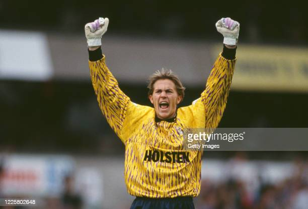 Spurs goalkeeper Ian Walker celebrates a goal in a 21 win during a Premier League match against Everton on on September 5 1992 in London United...