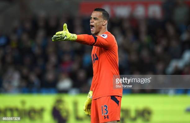 Spurs goalkeeper Michel Vorm reacts during the Premier League match between Swansea City and Tottenham Hotspur at Liberty Stadium on April 5 2017 in...