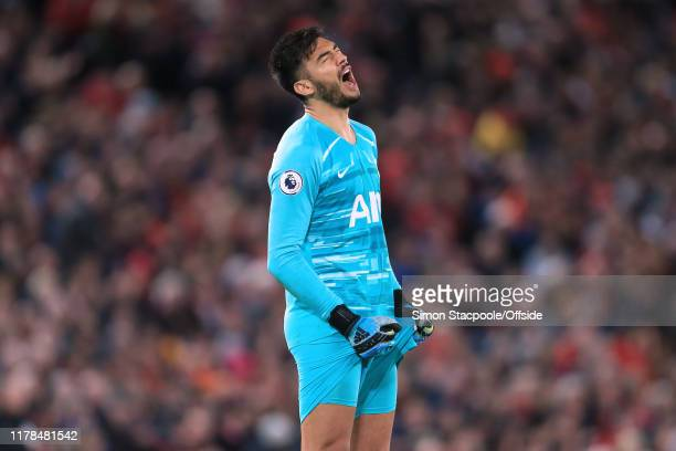 Spurs goalkeeper Paulo Gazzaniga looks dejected during the Premier League match between Liverpool FC and Tottenham Hotspur at Anfield on October 27...