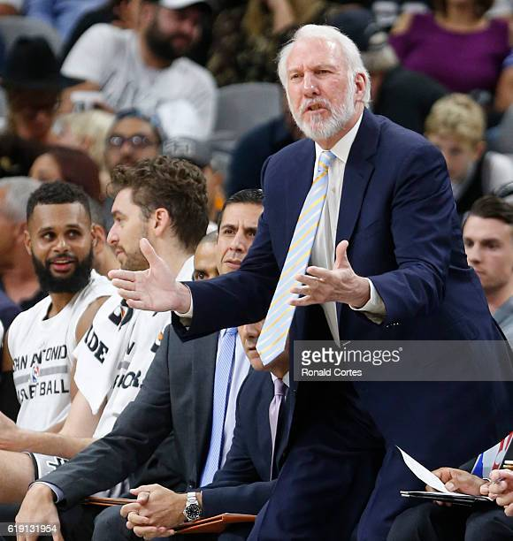 Spurs head coach Gregg Popovic agrees a call during game between New Orleans Pelicans and the San Antonio Spurs at ATT Center on October 29 2016 in...