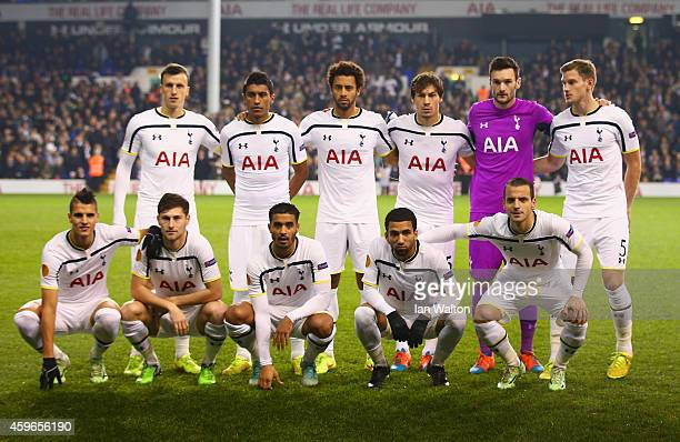Spurs line up during the UEFA Europa League group C match between Tottenham Hotspur FC and FK Partizan at White Hart Lane on November 27 2014 in...