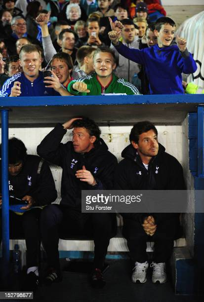 Spurs manager Andre VillasBoas looks on from the bench before the Capital One Cup Third Round match between Carlisle United and Tottenham Hotspur at...